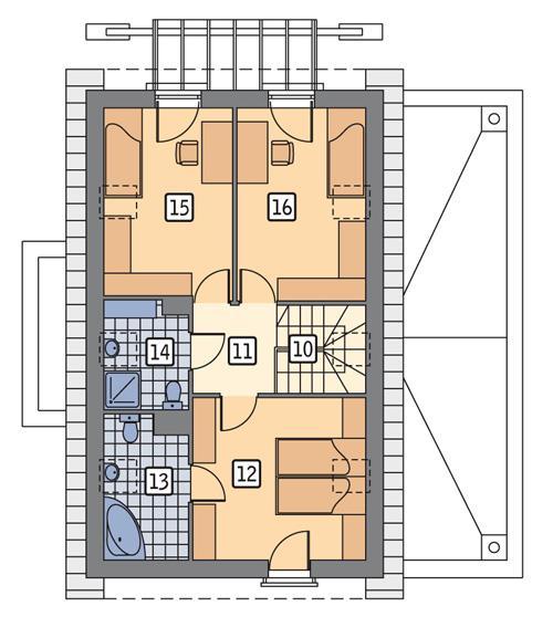 Rzut poddasza POW. 63,9 m²