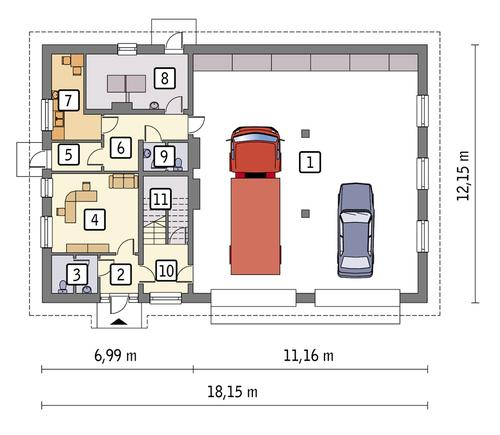 Rzut parteru POW. 182,3 m²