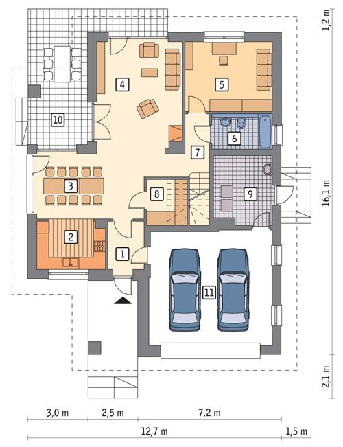 Rzut parteru POW. 127,7 m²