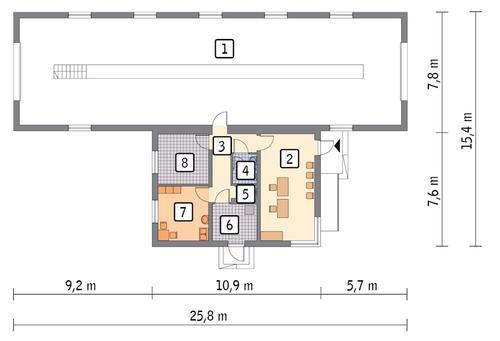 Rzut parteru POW. 241,0 m²